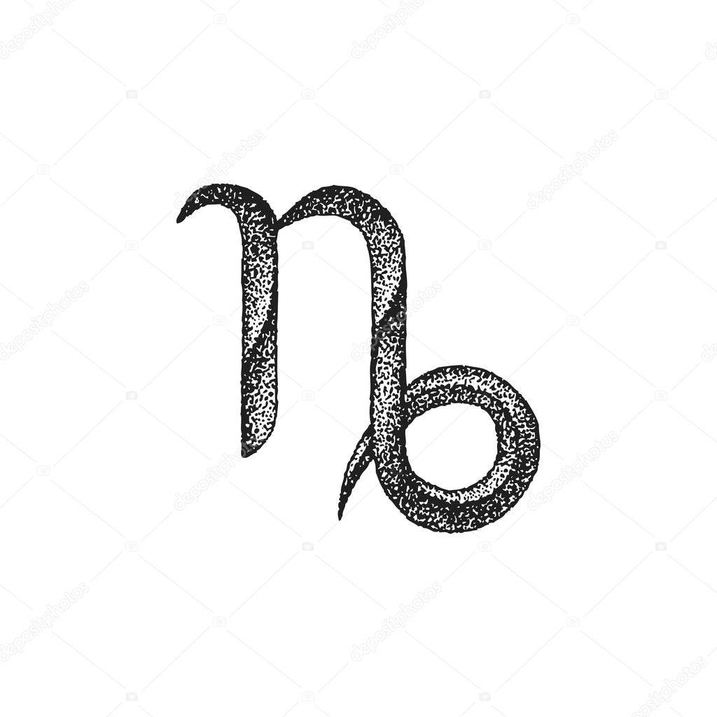 Ręcznie Rysowane Sig Znak Zodiaku Koziorożec Grafika