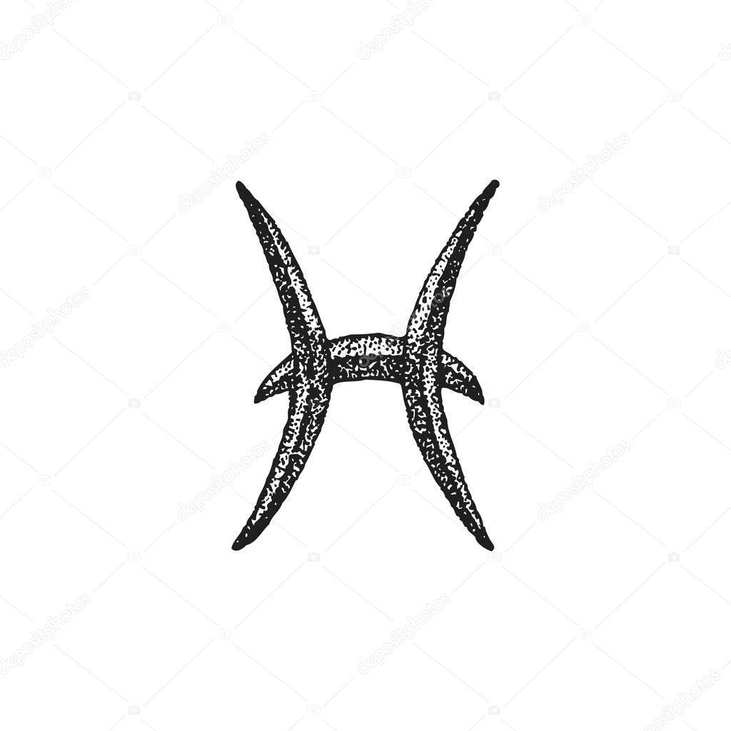 Ręcznie Rysowane Sig Znak Zodiaku Ryby Grafika Wektorowa