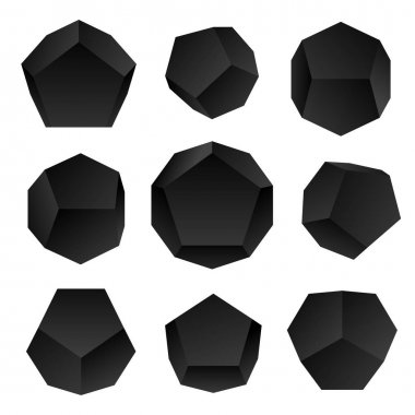 Vector glossy platonic solids se