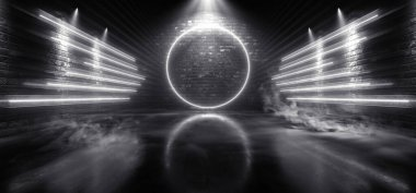 Sci Fi Futuristic Circle Wing Shaped Alien Modern Smoke Fog Neon Led Lights White Glowing Cyberpunk Concrete Dark Hallway Garage Showroom Garage Empty Background 3D Rendering illustration