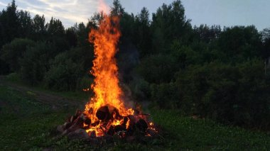 Fire explosion. Bright flame of bonfire in countryside.