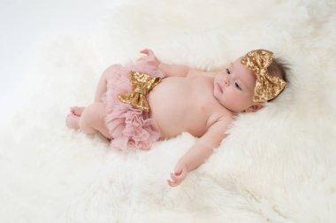 Baby Girl Wearing Pink Bloomers