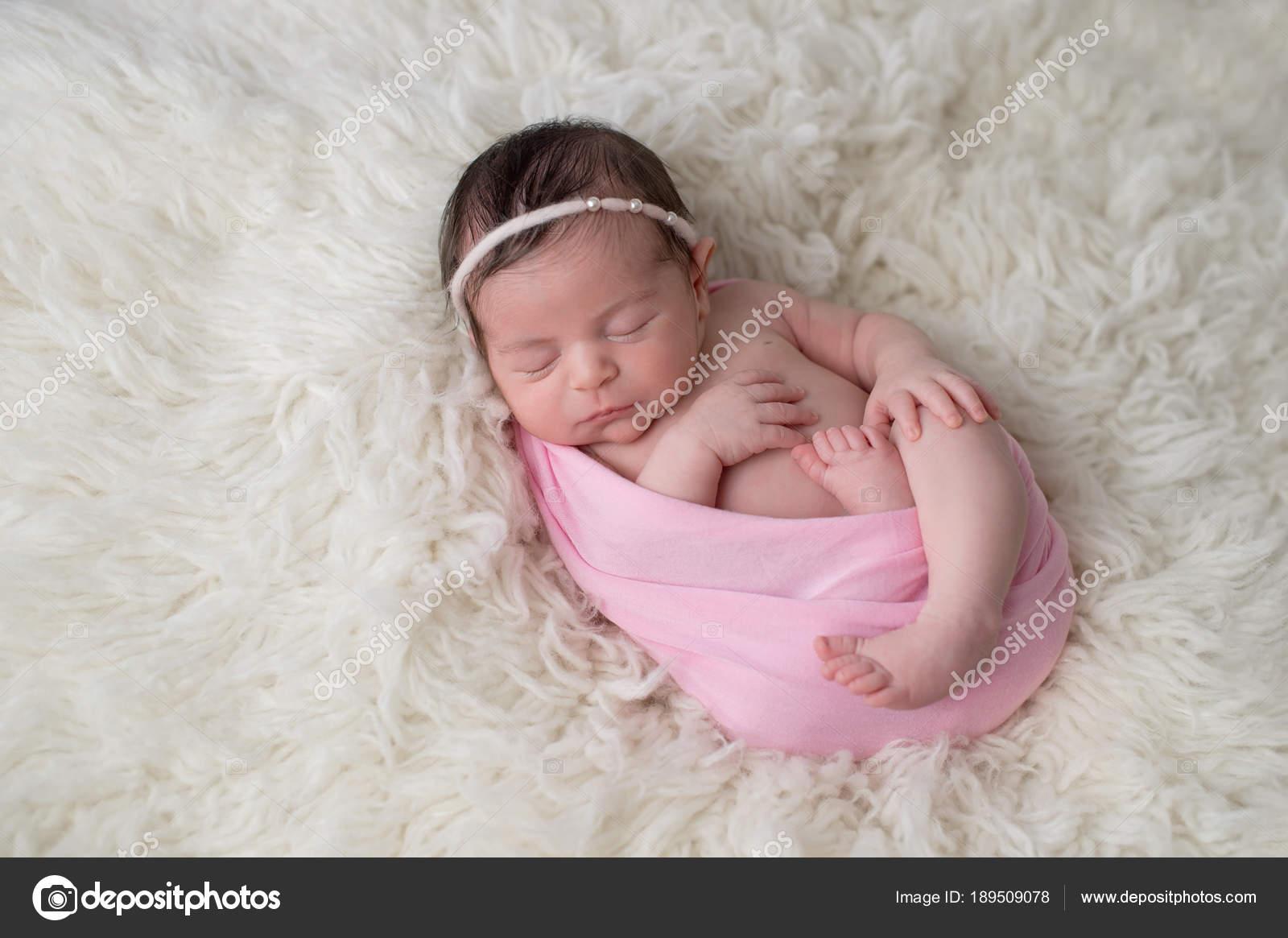 Swaddled Sleeping Newborn Baby Girl Stock Photo C Katrinaelena