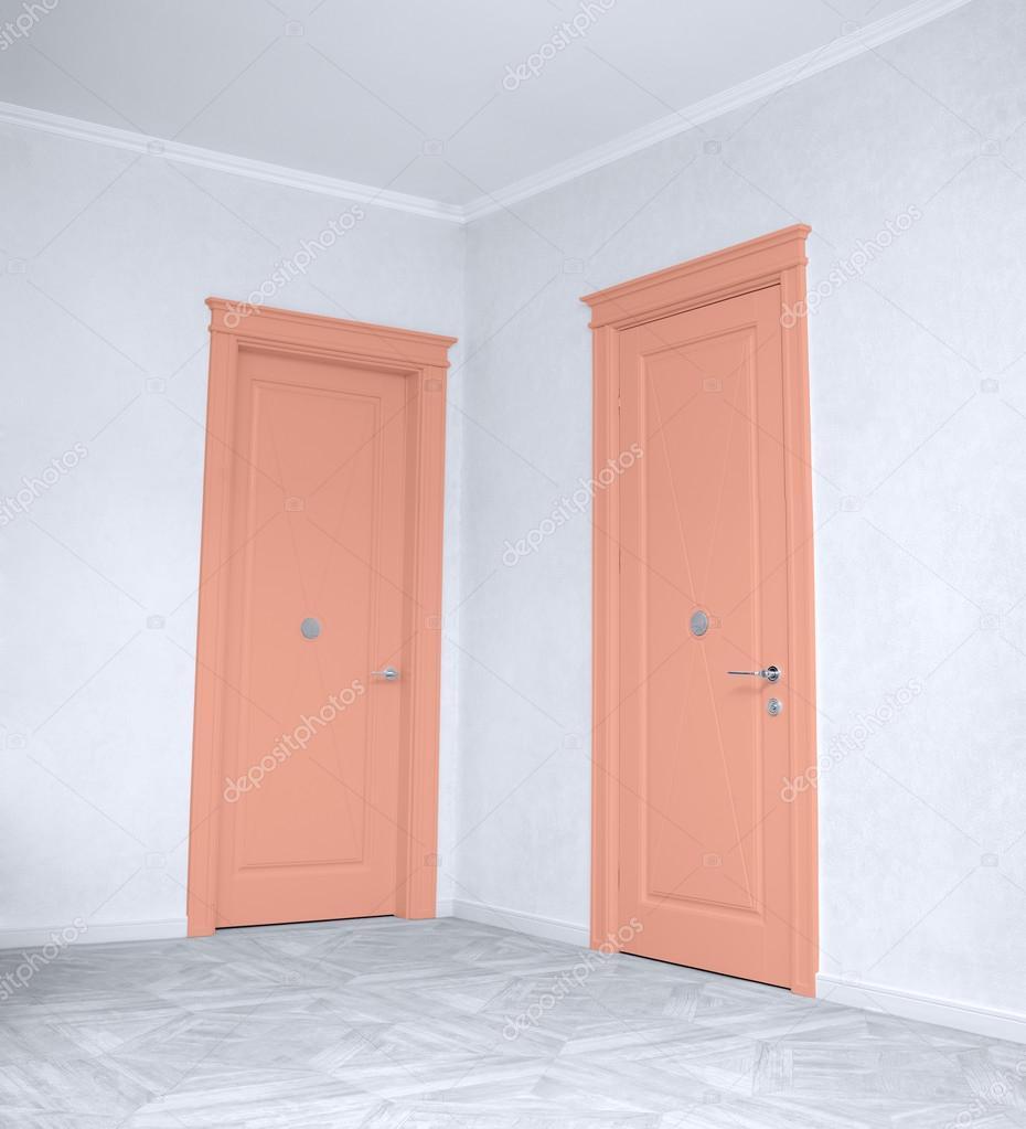 Geschlossene holztür  eines geschlossenen Holztür in den leeren Raum — Stockfoto #125286182