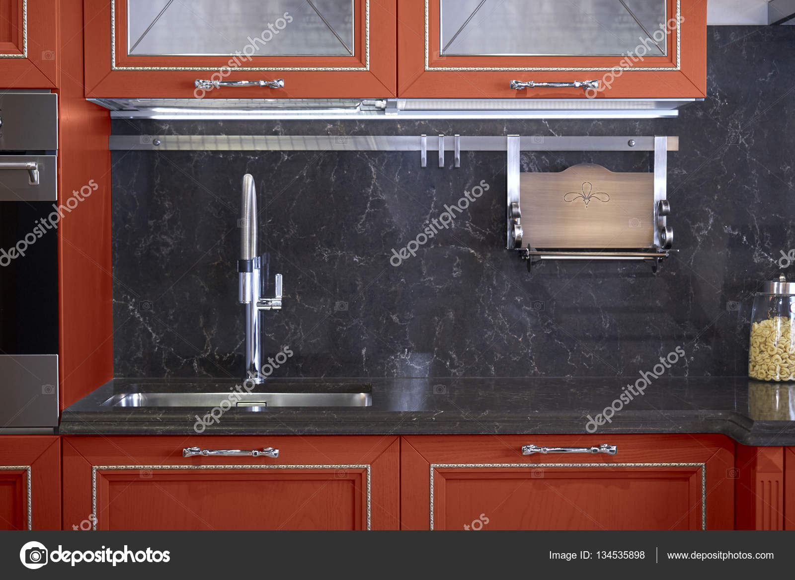 stainless steel sink and faucet in kitchen room — Stock Photo ...