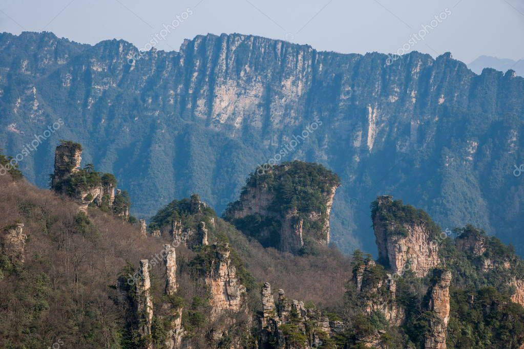 Hunan Zhangjiajie National Forest Park Tianzishan general rock peaks