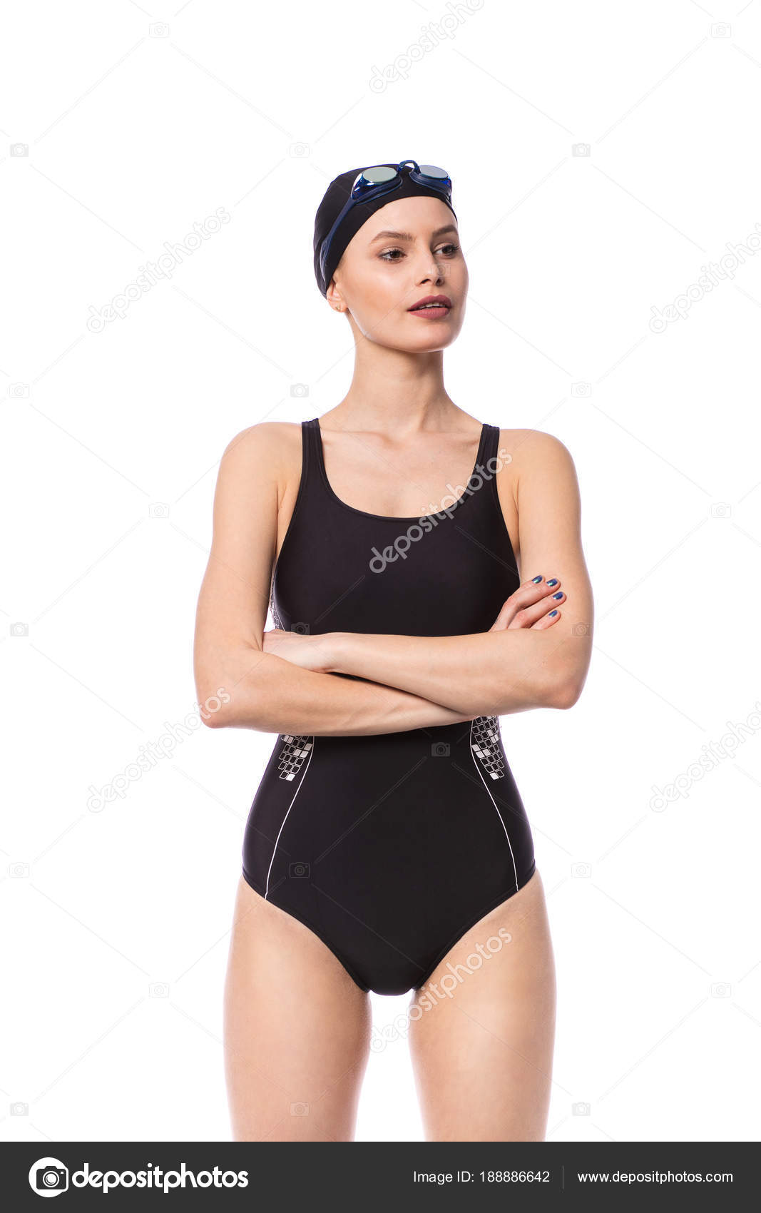 55ad8c91634a3 Swimmer women in swimming suit standing with folded arms looking one side  with confidence, isolated on white background — Photo by ...