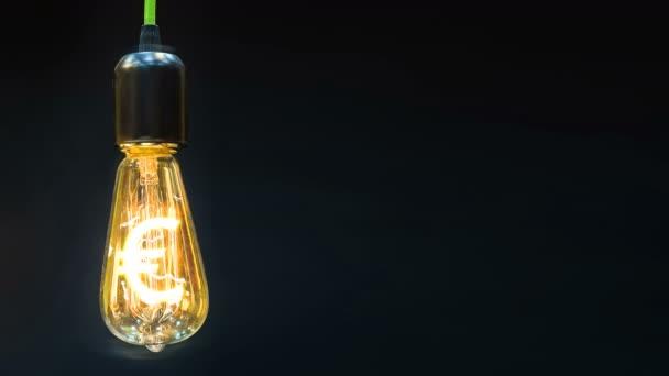 peníze tvorby nápad. žárovka s symbol eura