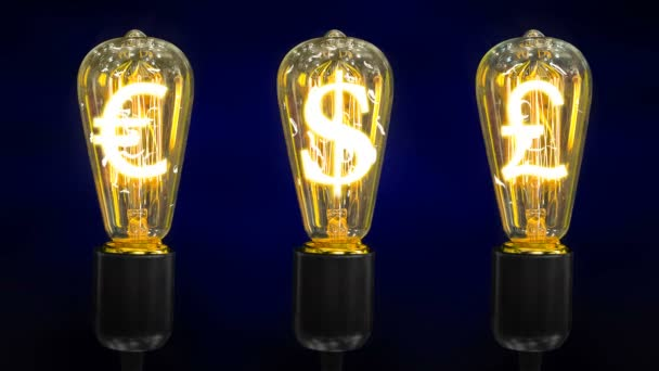 Lamps that glow symbols of world currencies
