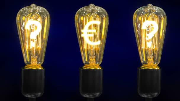 Znak měny euro v retro lampy s otazníky.