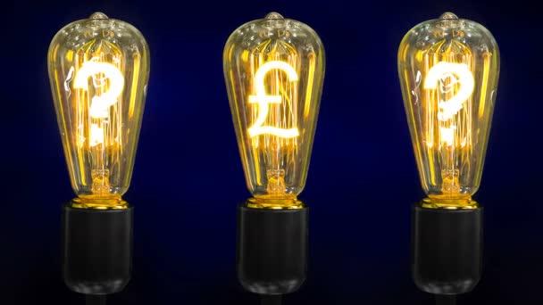 Měna Libra šterlinků označit uprostřed retro lampy s otazníky.