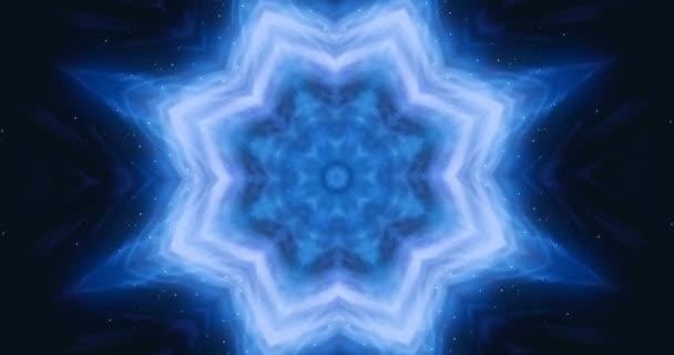 4k Looping footage. Transforming ornamental vintage mosaic art flower. Abstract esoteric cosmic mandala. The budding lotus flower.