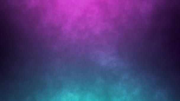 Dynamické abstraktní mlhavé pozadí. Neonové barvy růžové a modré světlo se pohybující kouř