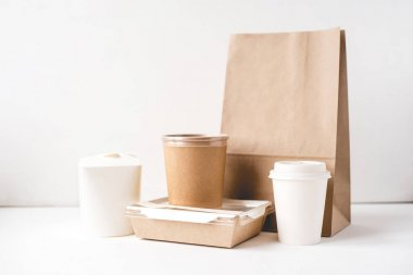 Various packaging for food delivery.