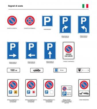 italian road parking signs