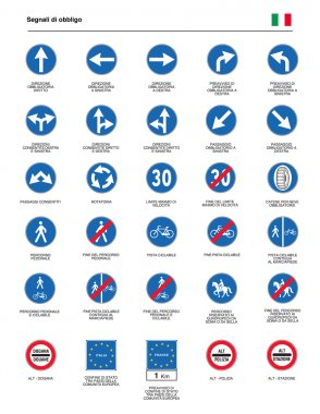 ITALIAN SIGNS OF OBLIGATION DRIVING DIRECTIONS