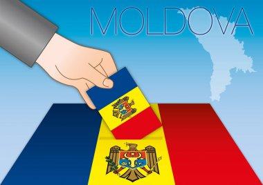 Moldova, elections, ballot box with flags
