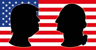Donald Trump, US president, illustration and graphic elaboration with US flag
