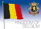 Photo Kingdom of Belgium flag with coat of arms