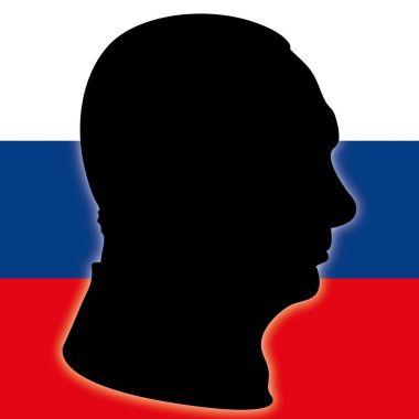 Vladimir Putin portrait silhouette with Russia flag