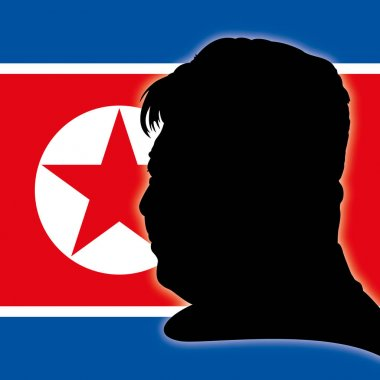 Kim Jong-un portrait silhouette with North Korea flag