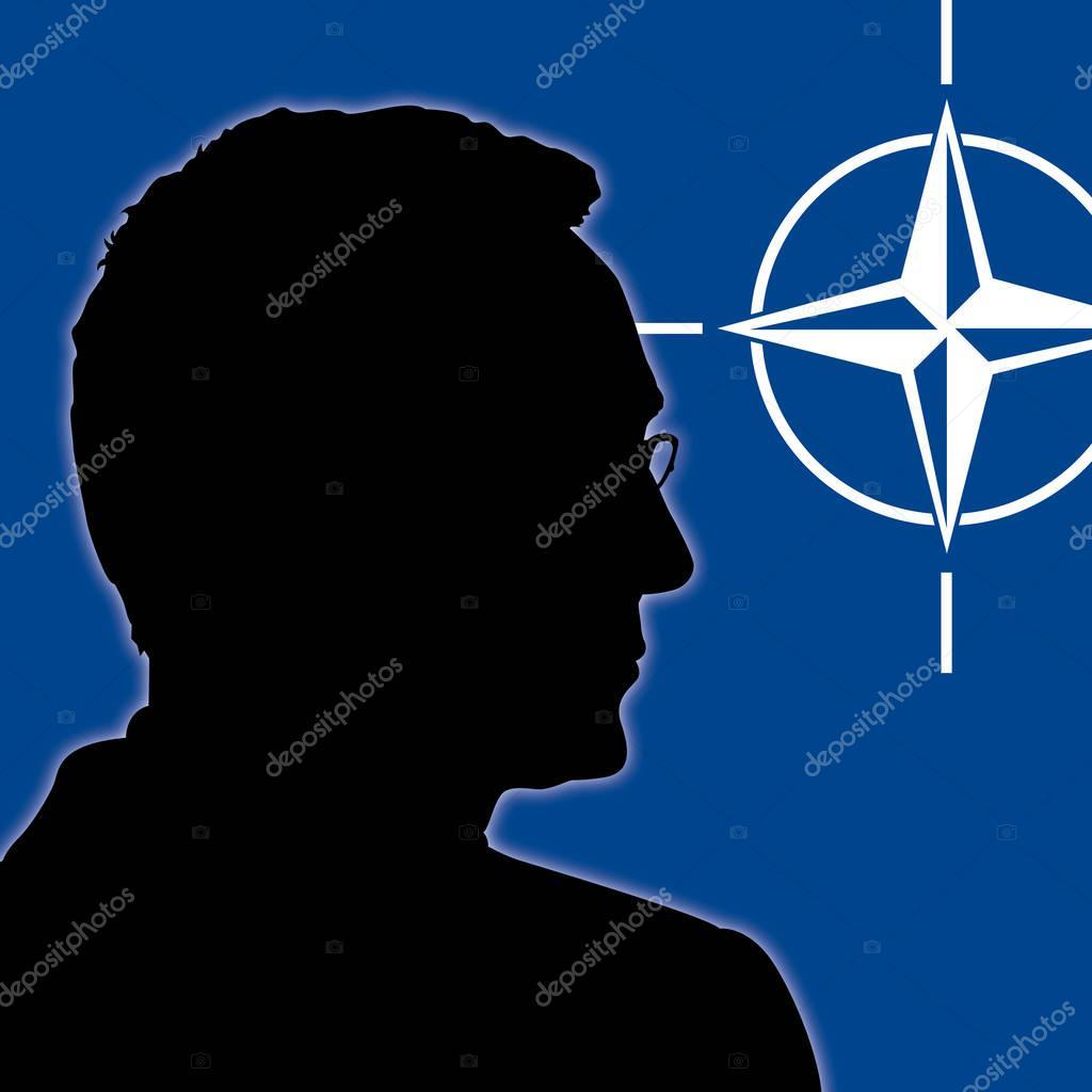 OSLO, NORWAY, JUNE 2017 - Jens Stoltenberg silhouette, secretary of the NATO, North Atlantic Treaty Organization