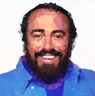 Luciano Pavarotti mesh illustration and portrait, graphic elaboration