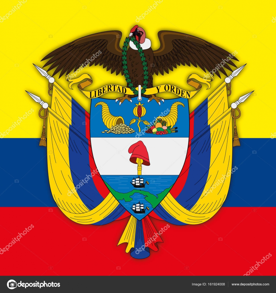 Republic Of Colombia Coat Of Arm And Flag Stock Vector C Frizio 161924008