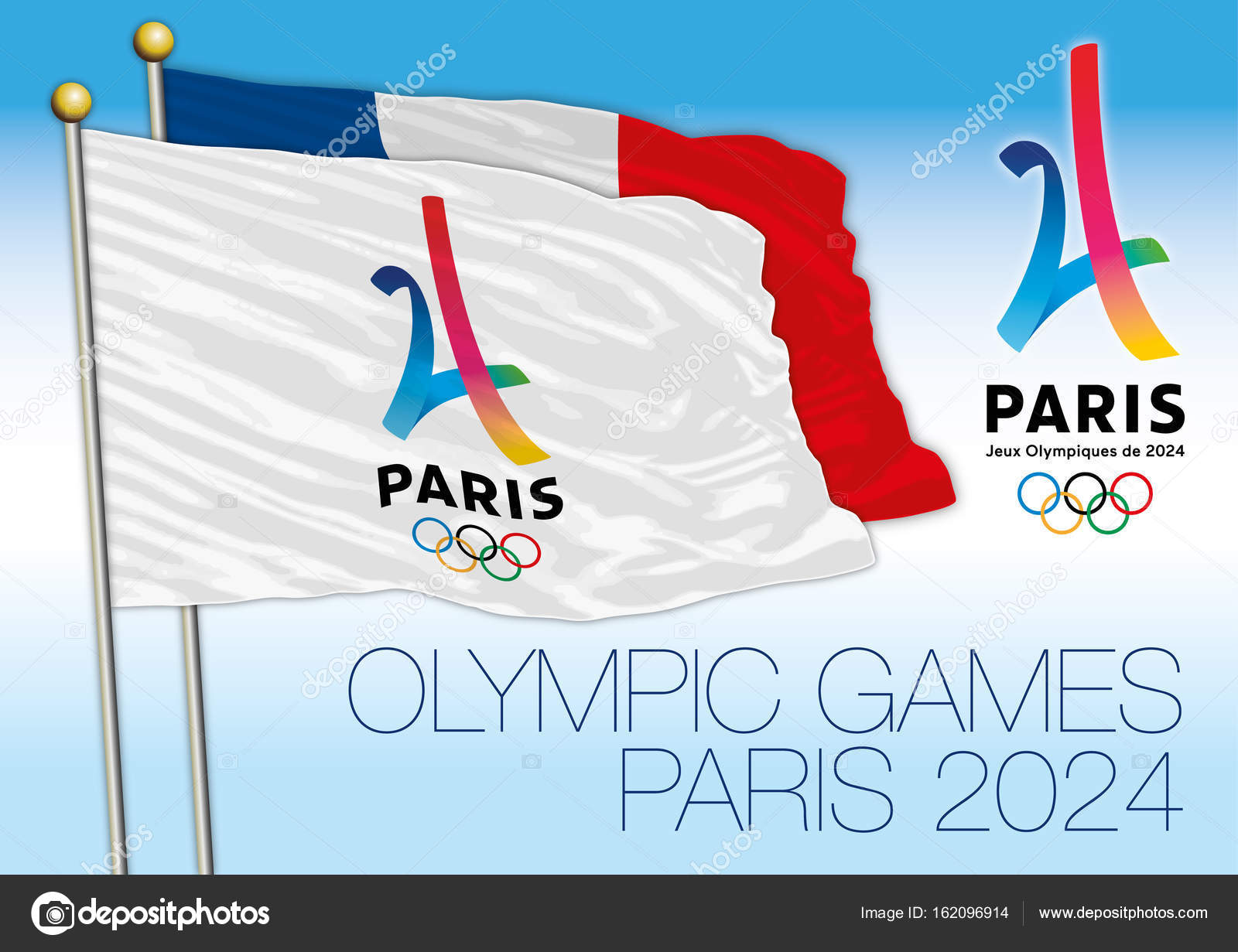Olympic Games Paris 2024 flag and logo — Stock Vector