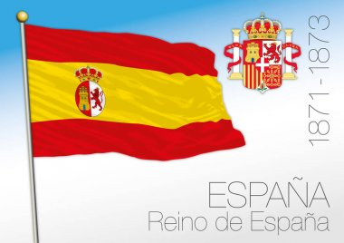 Kingdom of Spain historical flag and coat of arms, 1871-1873, Spain