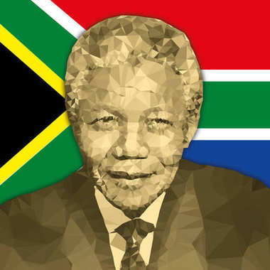 Nelson Mandela portrait in polygonal style and south african flag
