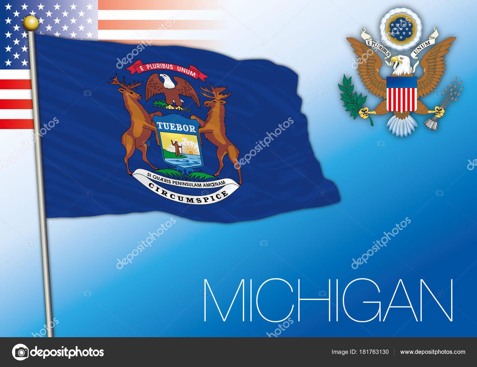 Bandera Del Estado Federal Michigan Estados Unidos — Vector de stock ...
