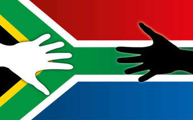 South Africa flag with peace handshake, coloured and white peoples