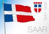 Fotografie Saar european region historical flag and crest