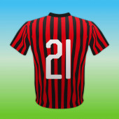 Milan Ac, piros és fekete 21-es ing, olasz labdarúgó bajnokság