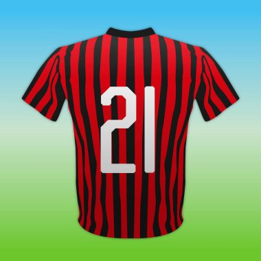 Milan AC, red and black number 21 shirt, Italian football championship