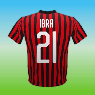 Milan AC, red and black number 21 shirt, Italian football championship, vector illustration