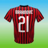 Milan Ac, piros és fekete 21-es ing, olasz labdarúgó bajnokság, vektor illusztráció