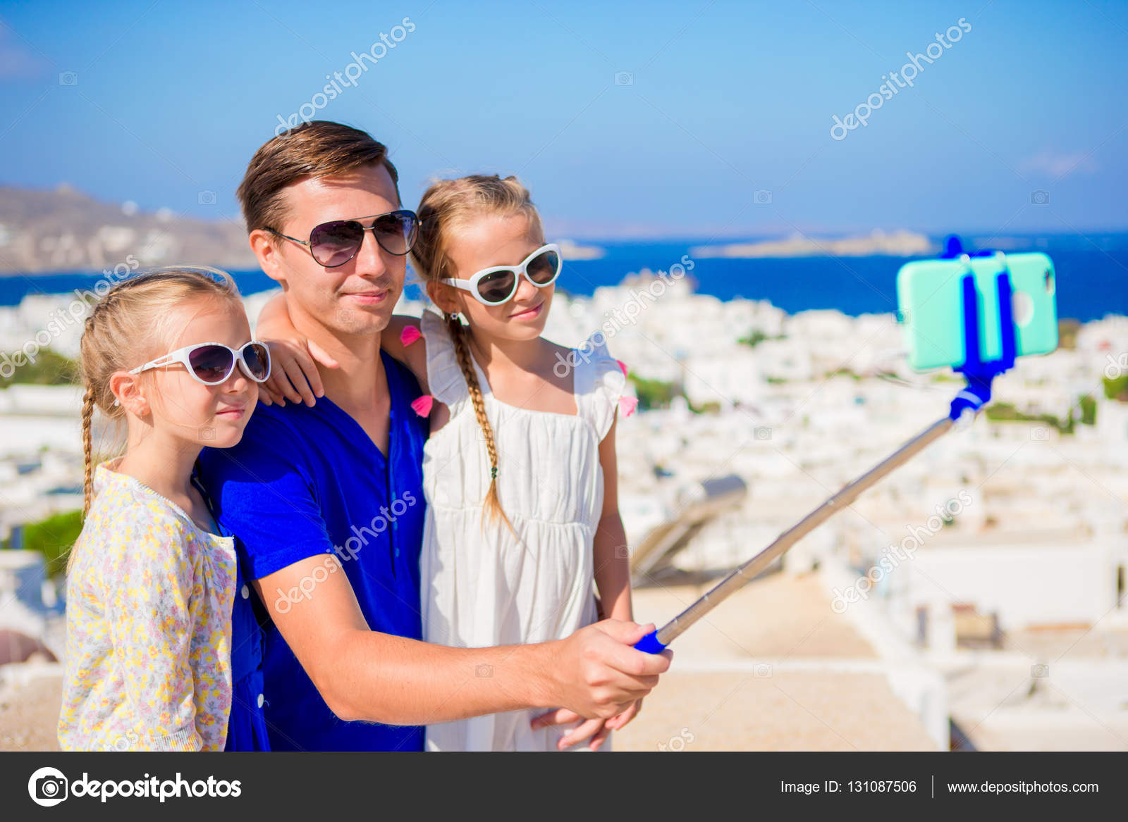 Family Vacation In Europe Father And Kids Taking Selfie Background Mykonos Town Greece
