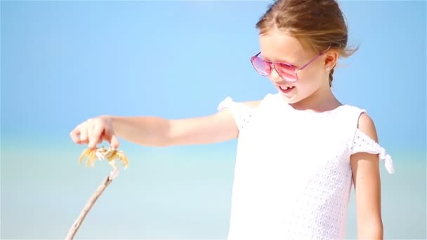 Adorable little girl holding crab on the beach