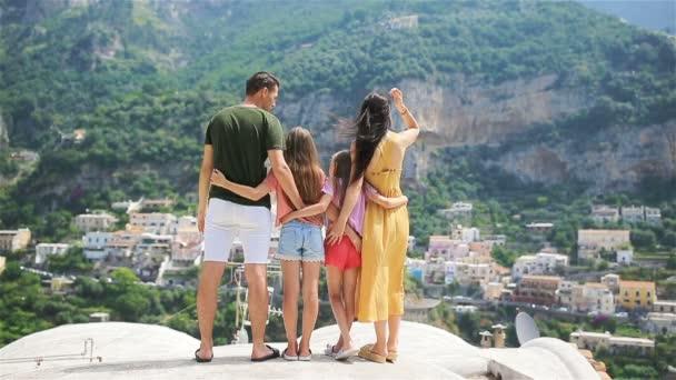 Family on vacation on Amalfi coast in Italy