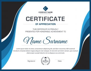 Vector multipurpose creative professional certificate trendy template design for all types company