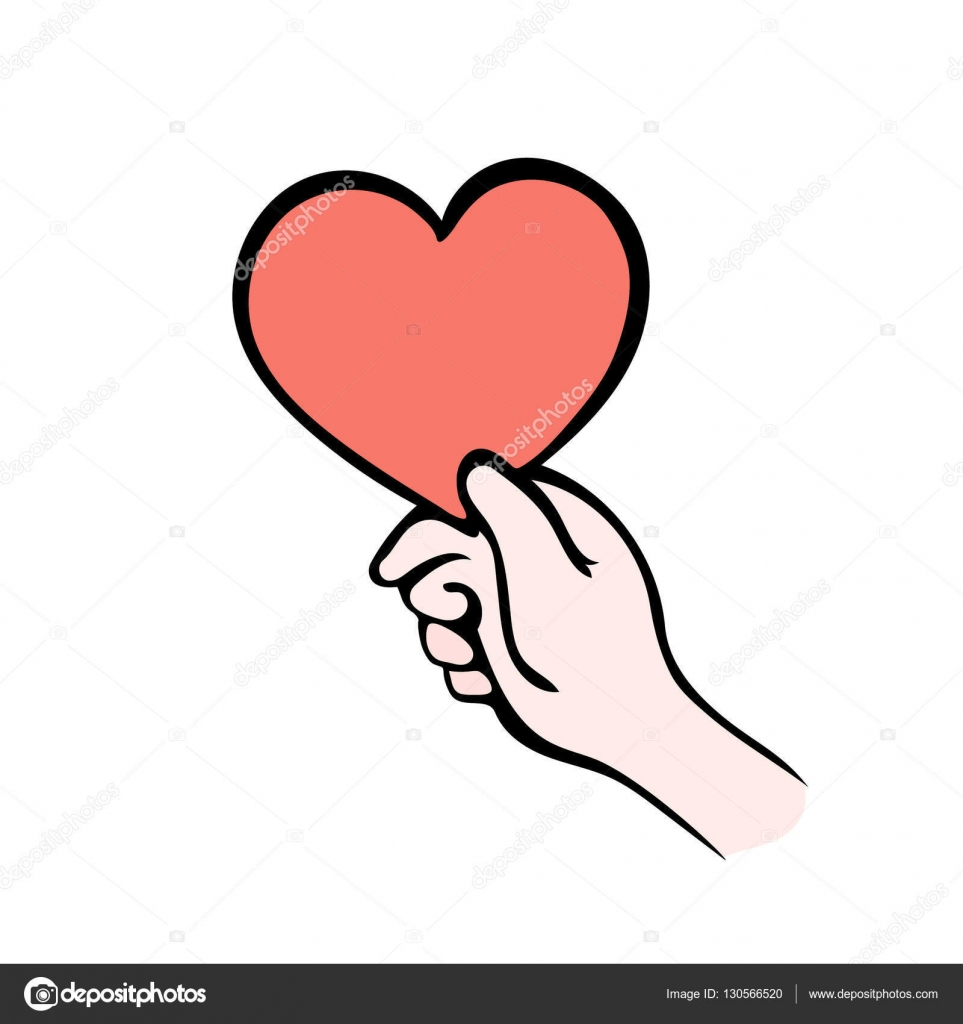 Hand Giving Heart Symbol Isolated On White Give Love Stock Vector