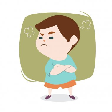 Angry little cute boy with blowing from ears, vector cartoon ill