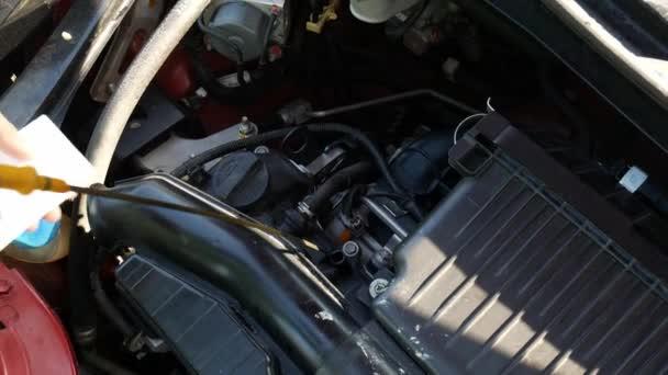 Close up of Woman kontroluje hladinu oleje v autě sama doma.