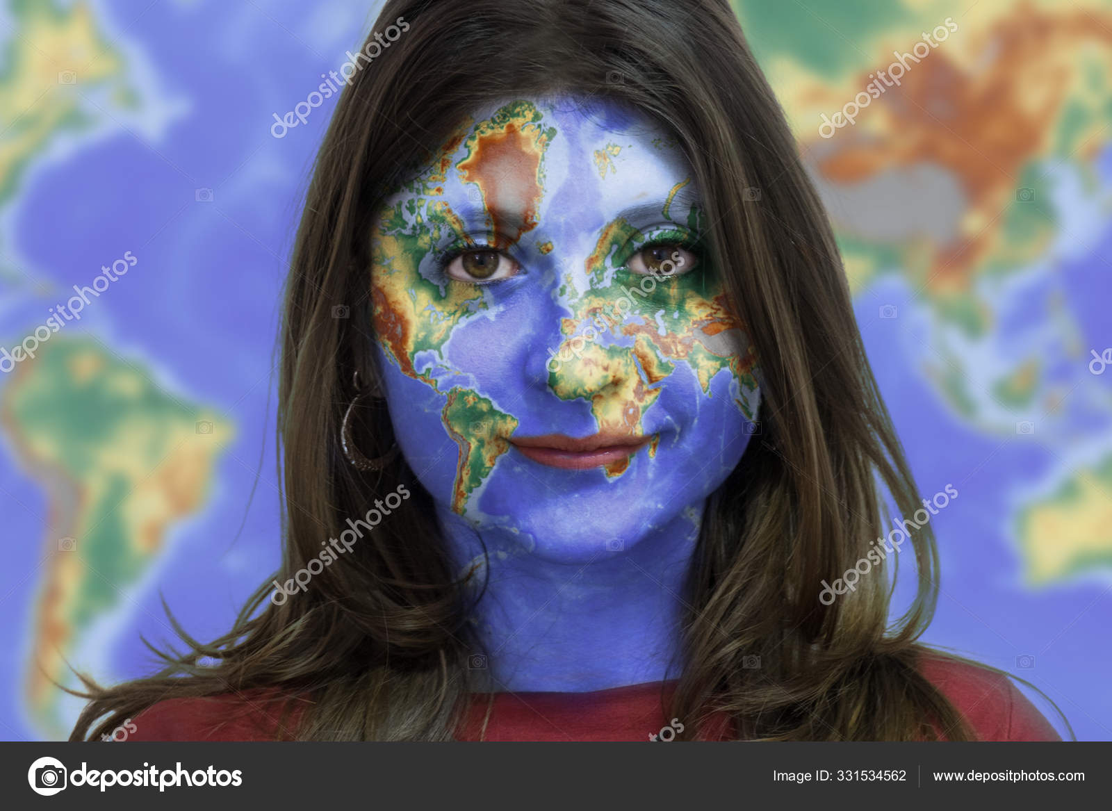 Girl With World Map On Her Face Stock Photo C Supercic 331534562