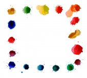 Vektor quadratischen Rahmen aus Aquarell Regenbogen Blobs, bunte Farbe Tropfen Textur.