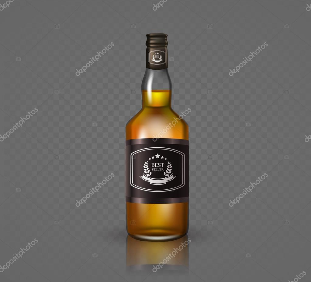 piuttosto bella stile distintivo prezzo minimo Bottiglia di brandy di vetro con tappo a vite, isolato su ...