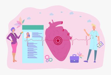 Internet doctor. Healthy heart, pulse of a healthy person .. Colorful vector illustration