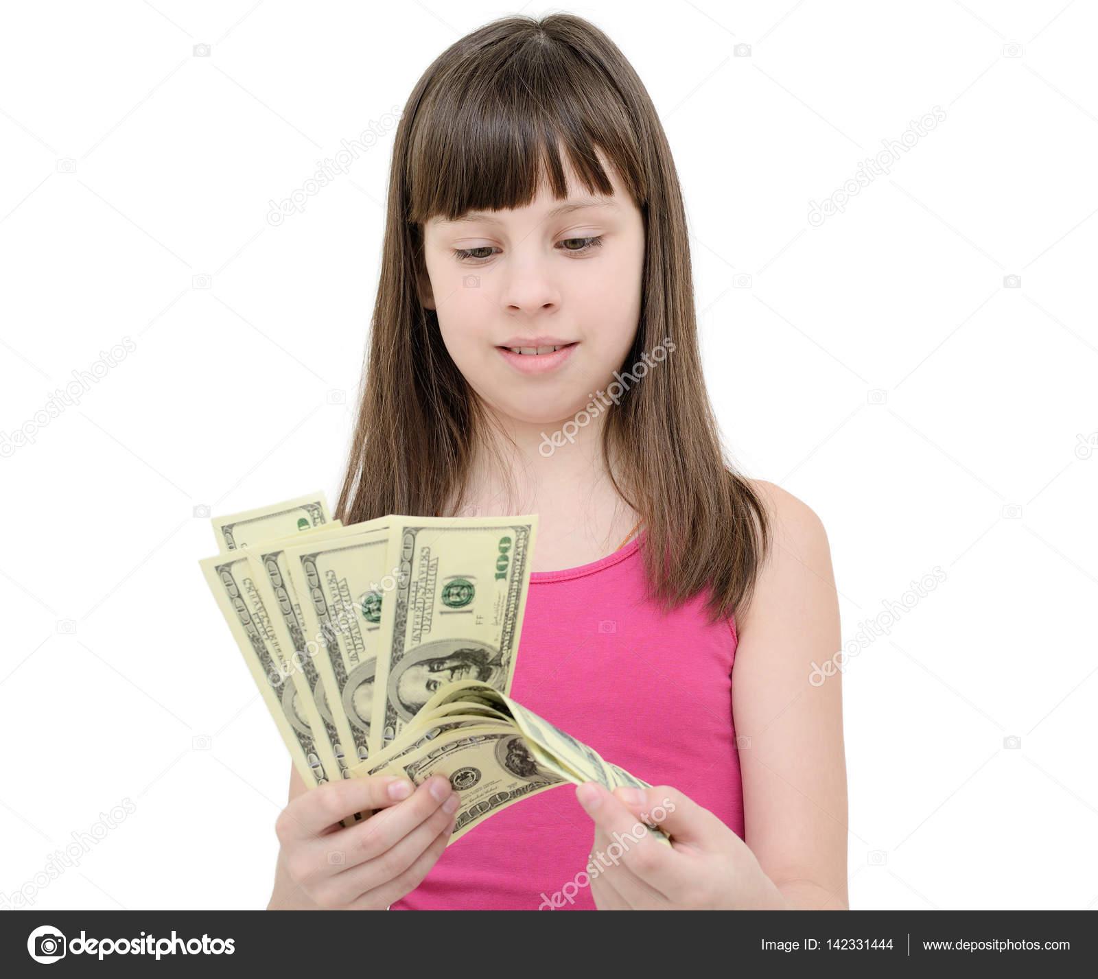 Mädchen in Erstaunen halten Geld auf weißem Hintergrund — Stockfoto ...